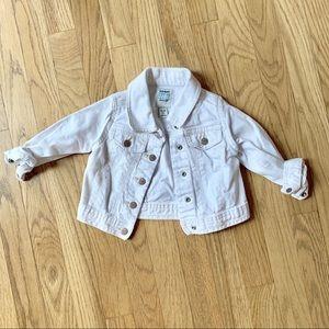 Old Navy Baby Girl White Denim Jacket Size 12-18mo
